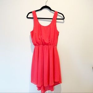Pink High Low Open Back Dress